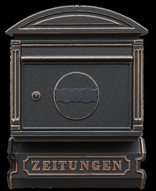Wand Briefkasten Ledertasche mit Zeitungsrolle im Antik-Look Metall Schwarz//Silber Wandbriefkasten Postkasten Mailbox Zeitungsfach Zeitungsbox